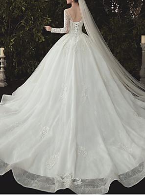 cheap Wedding Dresses-Ball Gown Jewel Neck Watteau Train Lace / Tulle Long Sleeve Formal Plus Size / Illusion Sleeve Wedding Dresses with Lace / Lace Insert 2020