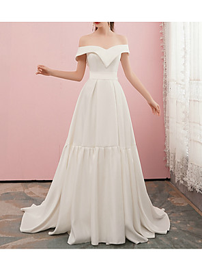cheap Evening Dresses-A-Line Wedding Dresses Off Shoulder Sweep / Brush Train Satin Cap Sleeve Simple Elegant with Bow(s) 2020