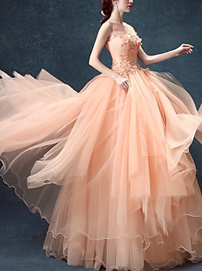 cheap Wedding Dresses-Ball Gown Floral Pink Prom Formal Evening Dress Illusion Neck Sleeveless Floor Length Tulle with Beading Appliques 2020
