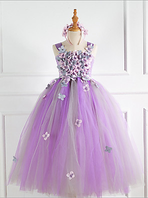 cheap Flower Girl Dresses-Kids Girls' Solid Colored Dress Purple