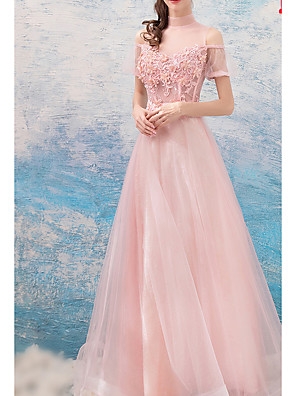 cheap Bridesmaid Dresses-A-Line High Neck Floor Length Lace / Tulle Bridesmaid Dress with Beading / Appliques