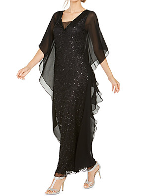 cheap Mother of the Bride Dresses-A-Line Mother of the Bride Dress Elegant V Neck Ankle Length Chiffon Half Sleeve with Ruching 2020
