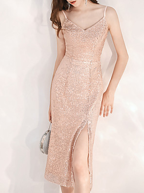 cheap Cocktail Dresses-A-Line Glittering Wedding Guest Cocktail Party Dress Spaghetti Strap Sleeveless Knee Length Sequined with Split 2020