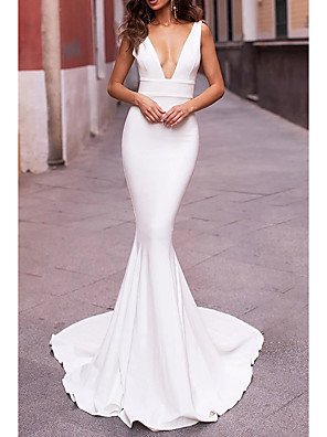 cheap Wedding Dresses-Mermaid / Trumpet Wedding Dresses Plunging Neck Sweep / Brush Train Stretch Satin Sleeveless Sexy Plus Size with Draping 2020