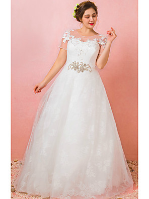 cheap Wedding Dresses-A-Line Jewel Neck Floor Length Lace / Satin / Tulle Short Sleeve Formal Plus Size Wedding Dresses with Lace / Crystals / Appliques 2020 / Illusion Sleeve