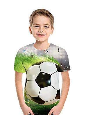 cheap Boys' Tops-Kids Boys' Active Street chic Geometric 3D Patchwork Print Short Sleeve Tee Green