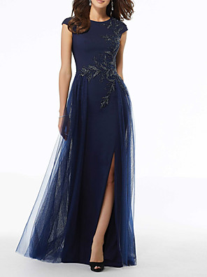 cheap Evening Dresses-A-Line Elegant Blue Wedding Guest Formal Evening Dress Jewel Neck Short Sleeve Floor Length Tulle with Sequin Split Appliques 2020