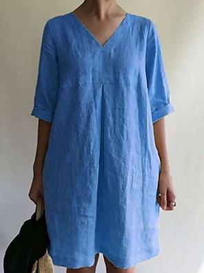 cheap Mini Dresses-Women's A-Line Dress Short Mini Dress - Half Sleeve Solid Color V Neck Black Yellow Wine Gray Light Blue S M L XL XXL XXXL XXXXL XXXXXL