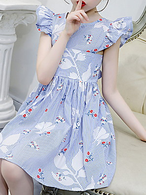 cheap Girls' Dresses-Kids Girls' Striped Floral Dress Blushing Pink