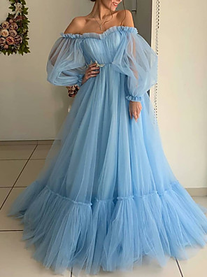 cheap Prom Dresses-Ball Gown Minimalist Blue Engagement Prom Dress Off Shoulder Long Sleeve Floor Length Tulle with Pleats 2020