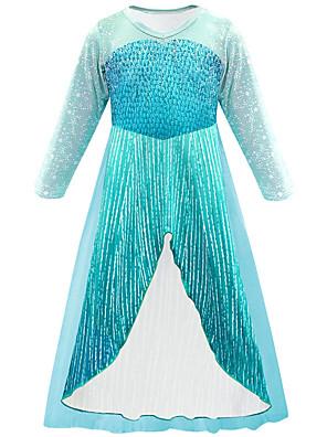 cheap Girls' Dresses-Kids Girls' Active Cute Patchwork Snowflake Mesh Patchwork 3/4 Length Sleeve Midi Dress Blue