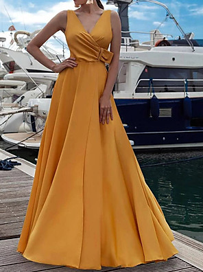 cheap Prom Dresses-A-Line Elegant Yellow Engagement Prom Dress V Neck Sleeveless Floor Length Stretch Satin with Sash / Ribbon Split 2020