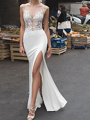 cheap Wedding Dresses-Mermaid / Trumpet Wedding Dresses Off Shoulder Floor Length Stretch Satin Sleeveless Country Plus Size with Buttons Embroidery Split Front 2020
