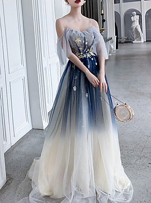 cheap Prom Dresses-A-Line Sparkle Blue Wedding Guest Prom Dress Spaghetti Strap Short Sleeve Sweep / Brush Train Polyester with Sequin Appliques 2020