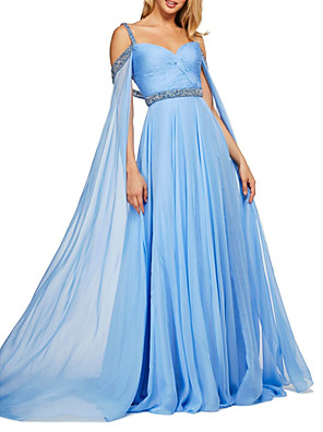 cheap Prom Dresses-A-Line Elegant Blue Engagement Formal Evening Dress Sweetheart Neckline Sleeveless Sweep / Brush Train Chiffon with Pleats Crystals Sequin 2020