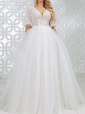 cheap Wedding Dresses-A-Line Wedding Dresses V Neck Sweep / Brush Train Lace Tulle Sequined Half Sleeve Country Plus Size with Appliques 2020