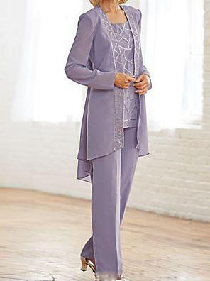 cheap Evening Dresses-Pantsuit / Jumpsuit Mother of the Bride Dress Elegant Jewel Neck Floor Length Chiffon Long Sleeve with Sequin 2020
