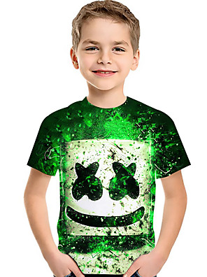 cheap Boys' Tops-Kids Toddler Boys' Active Basic Rubik's Cube Geometric Color Block 3D Print Short Sleeve Tee Green
