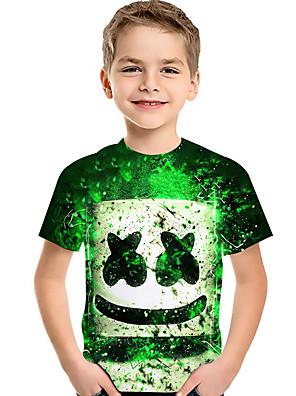 cheap Boys' Tops-Kids Toddler Boys' Active Basic Rubik's Cube Geometric Color Block 3D Print Short Sleeve Tee Green