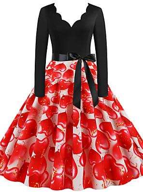 cheap Vintage Dresses-Women's Sheath Dress - Long Sleeve Floral Geometric Print Print V Neck Street chic Daily Going out Black S M L XL XXL XXXL