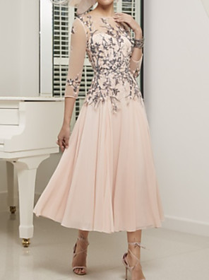 cheap Evening Dresses-A-Line Mother of the Bride Dress Elegant Illusion Neck Ankle Length Chiffon Tulle 3/4 Length Sleeve with Appliques Ruching 2020