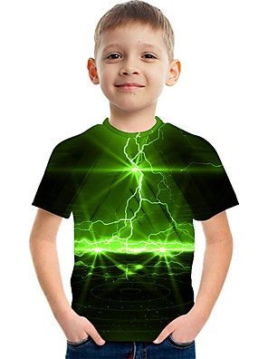 cheap Boys' Tops-Kids Boys' Active Street chic Color Block 3D Print Short Sleeve Tee Green