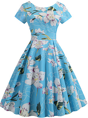 cheap Party Dresses-Women's Swing Dress - Short Sleeves Print Patchwork Print Active Cute Party Daily Belt Not Included Blue S M L XL XXL / Cotton