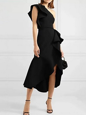 cheap Mini Dresses-Sheath / Column Sexy Homecoming Cocktail Party Dress One Shoulder Sleeveless Asymmetrical Spandex with Ruffles Split 2020