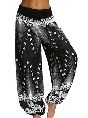 cheap Women's Pants-Women's Basic Oversized Bloomers Pants - Print White Black Blue S / M / L