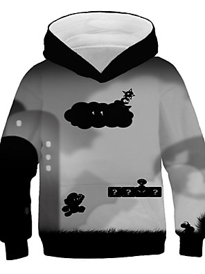 cheap Boys' Tops-Kids Boys' Basic Street chic Black & Gray Geometric Color Block 3D Print Long Sleeve Hoodie & Sweatshirt Rainbow