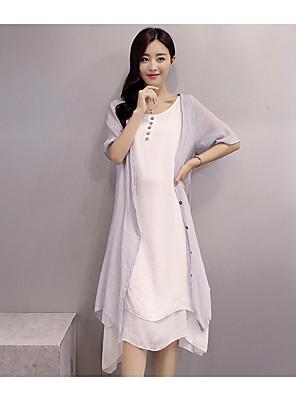 cheap Summer Dresses-Women's Asymmetrical Loose Dress - Half Sleeve Color Block Blushing Pink Green Gray S M L XL XXL XXXL XXXXL