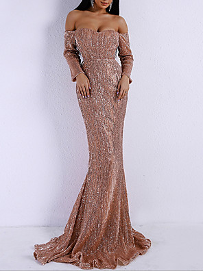 cheap Evening Dresses-Mermaid / Trumpet Elegant Sparkle Party Wear Formal Evening Dress Off Shoulder Long Sleeve Sweep / Brush Train Polyester with Sequin 2020