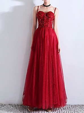 cheap Evening Dresses-A-Line Sparkle Red Wedding Guest Prom Dress Spaghetti Strap Sleeveless Floor Length Polyester with Pleats Sequin 2020