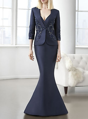 cheap Evening Dresses-Mermaid / Trumpet Mother of the Bride Dress Elegant V Neck Floor Length Lace Satin Half Sleeve with Lace Crystals 2020