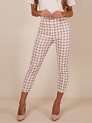 cheap Quartz Watches-Women's Street chic Slim Chinos Pants - Plaid / Checkered Stripe Wine Black Yellow S / M / L