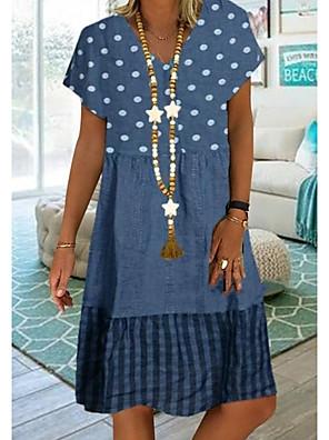 cheap Summer Dresses-Women's Plus Size Knee Length Dress - Short Sleeves Polka Dot Print Summer Casual Vacation White Blue Khaki Green S M L XL XXL XXXL XXXXL XXXXXL