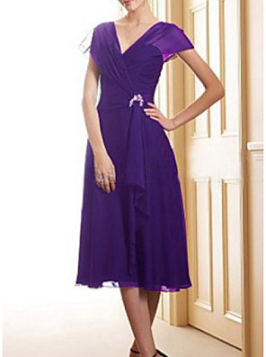 cheap Mother of the Bride Dresses-A-Line Mother of the Bride Dress Elegant V Neck Tea Length Chiffon Satin Short Sleeve with Pleats Sequin 2020