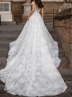 cheap Wedding Dresses-A-Line Wedding Dresses Jewel Neck Court Train Lace Tulle Cap Sleeve Country Plus Size with Lace Beading Embroidery 2020
