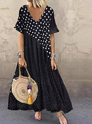 cheap Maxi Dresses-Women's Knee Length Dress - Short Sleeve Polka Dot Summer V Neck Vacation Black M L XL XXL XXXL XXXXL XXXXXL / Maxi