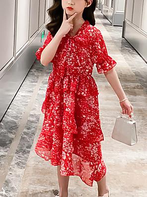 cheap Girls' Dresses-Kids Girls' Cute Red Snowflake Layered Print Short Sleeve Knee-length Dress Red