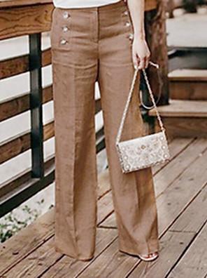 cheap Women's Pants-Women's Basic Linen Wide Leg Pants - Solid Colored Black Khaki Green S / M / L