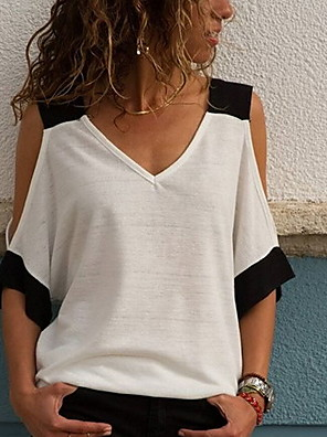 cheap Women's Blouses & Shirts-Women's Daily T-shirt Color Block Lace Cut Out Patchwork Half Sleeve Tops V Neck White Yellow Orange
