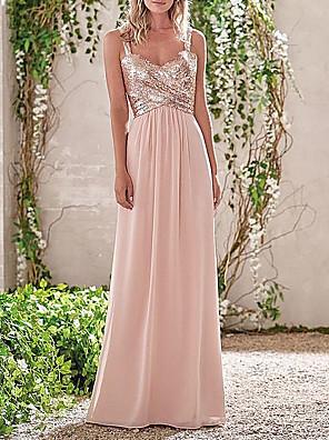 cheap Bridesmaid Dresses-Sheath / Column Cowl Neck Floor Length Chiffon / Sequined Bridesmaid Dress with Sequin / Ruching