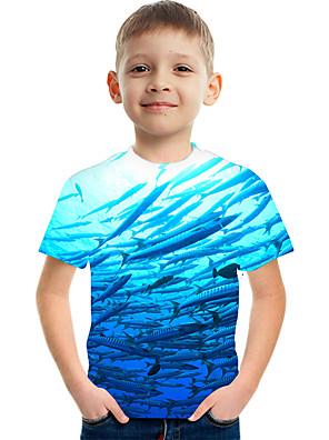 cheap Boys' Tops-Kids Boys' Active Street chic Color Block 3D Print Short Sleeve Tee Blue