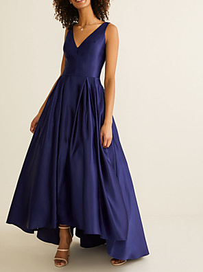 cheap Prom Dresses-A-Line V Neck Asymmetrical Satin Bridesmaid Dress with Pleats