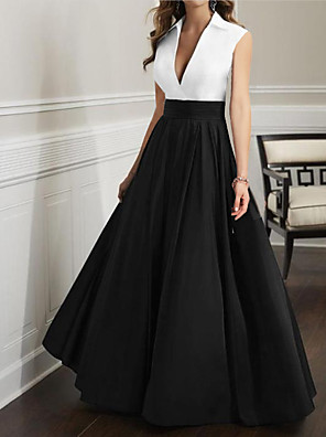cheap Mother of the Bride Dresses-A-Line Mother of the Bride Dress Elegant Plunging Neck Floor Length Satin Sleeveless with Pleats 2020
