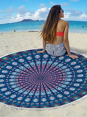 cheap Beach Towel-Women's Beach Mat Blanket Towel Shower Bath Towel Travel Blanket Purple Blue Dark Blue Beach Towel Swimwear Swimsuit - Geometric Purple