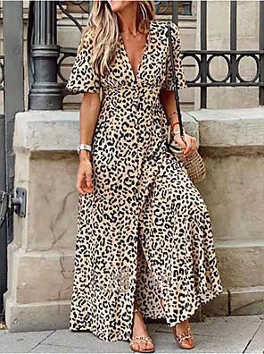 cheap Summer Dresses-Women's Maxi A Line Dress - Short Sleeves Leopard Deep V Yellow S M L XL XXL XXXL