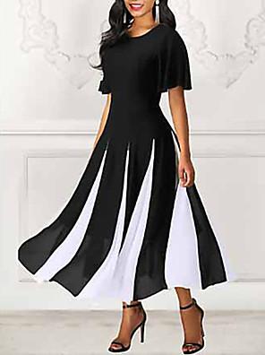 cheap Vintage Dresses-Women's Swing Dress Black & White Maxi long Dress - Short Sleeve Color Block Spring & Summer Going out 2020 Black M L XL