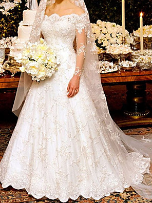 cheap Wedding Dresses-A-Line Wedding Dresses Off Shoulder Sweep / Brush Train Lace Long Sleeve Country Plus Size with Lace 2020